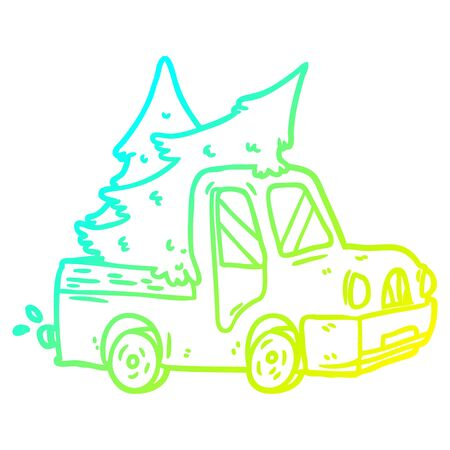 cold gradient line drawing of a pickup truck carrying christmas trees