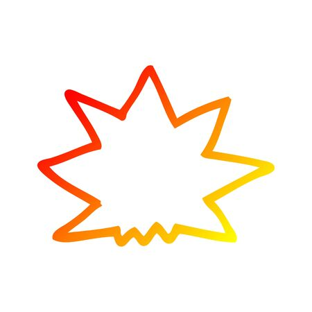 warm gradient line drawing of a cartoon explosion