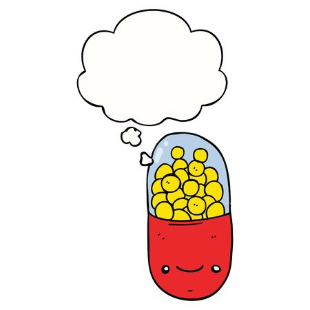 cartoon pill with thought bubble  イラスト・ベクター素材
