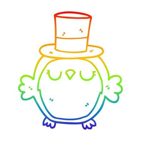 rainbow gradient line drawing of a cartoon owl wearing top hat