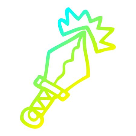 cold gradient line drawing of a cartoon sharp dagger  イラスト・ベクター素材