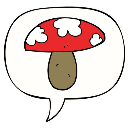 cartoon mushroom with speech bubble