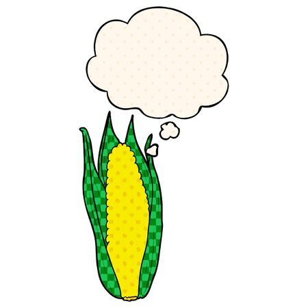cartoon corn with thought bubble in comic book style Ilustração