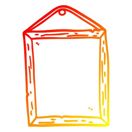 warm gradient line drawing of a cartoon picture frame Stock Illustratie