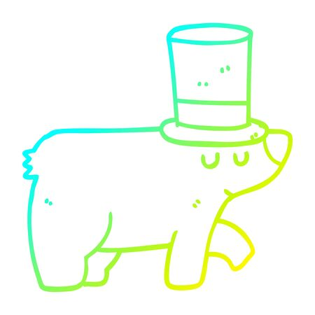 cold gradient line drawing of a cartoon bear wearing top hat