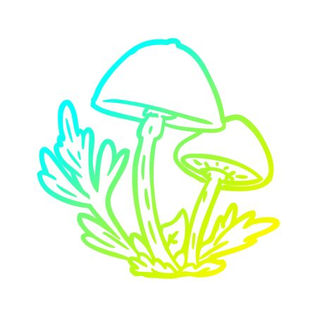 cold gradient line drawing of a wild mushrooms 版權商用圖片 - 129319605