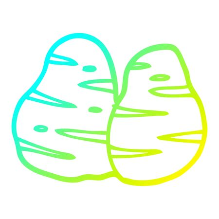 cold gradient line drawing of a cartoon potatoes Stock Illustratie