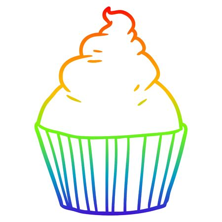 rainbow gradient line drawing of a cartoon cup cake