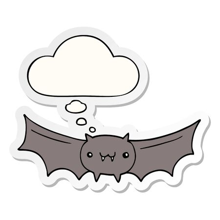 cartoon vampire bat with thought bubble as a printed sticker