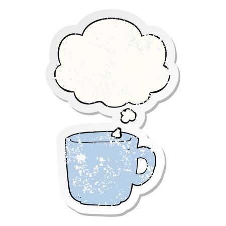 cartoon coffee cup with thought bubble as a distressed worn sticker