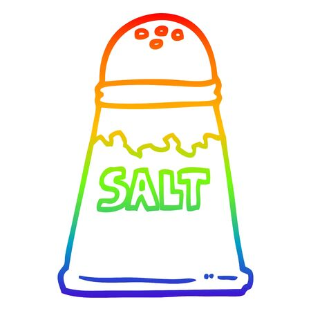 rainbow gradient line drawing of a cartoon salt shaker Vectores