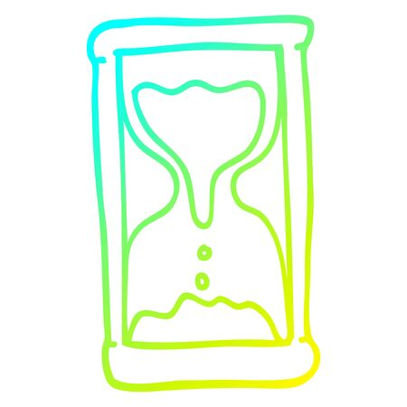 cold gradient line drawing of a cartoon hourglass