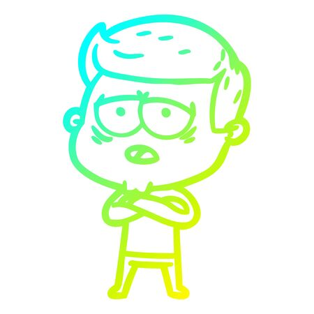 cold gradient line drawing of a cartoon tired man