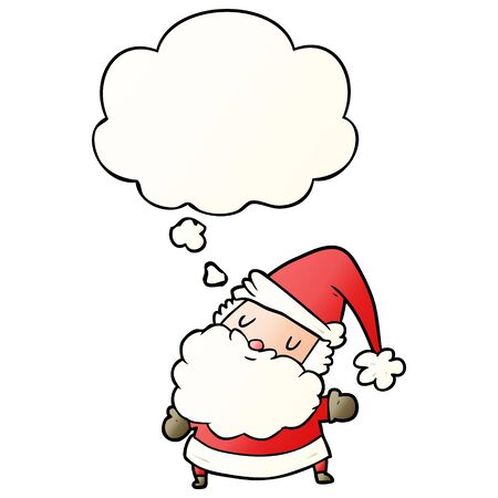 cartoon santa claus with thought bubble in smooth gradient style