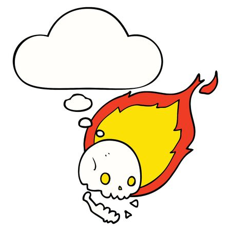 spooky cartoon flaming skull with thought bubble