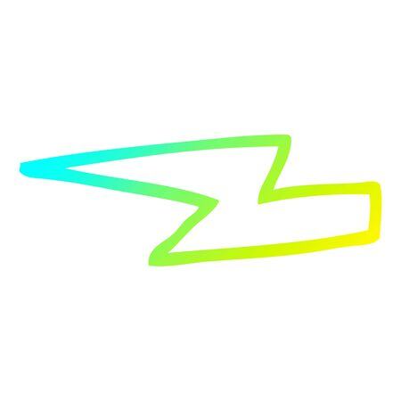 cold gradient line drawing of a cartoon  lightening bolts