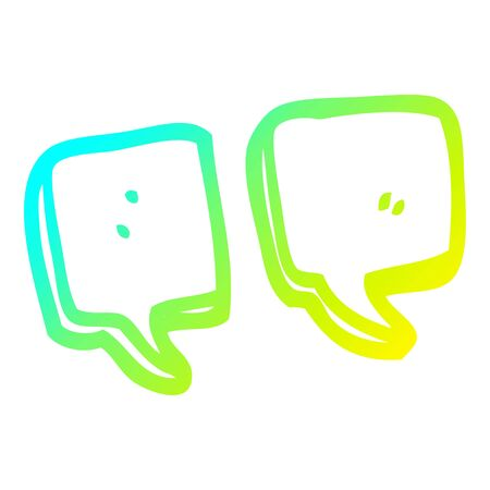 cold gradient line drawing of a cartoon quotation marks