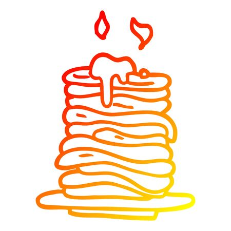 warm gradient line drawing of a cartoon stack of pancakes 向量圖像
