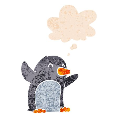 cartoon excited penguin with thought bubble in grunge distressed retro textured style Ilustracja