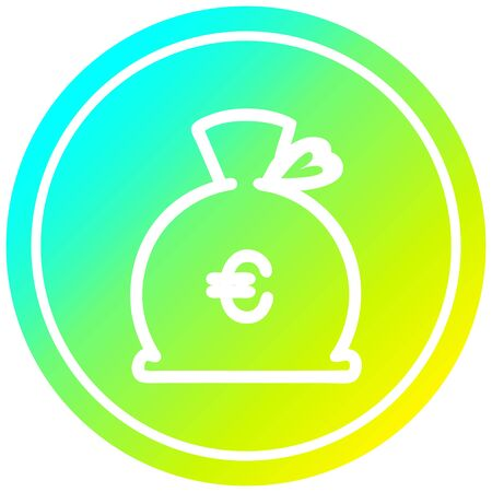 money sack circular icon with cool gradient finish 일러스트