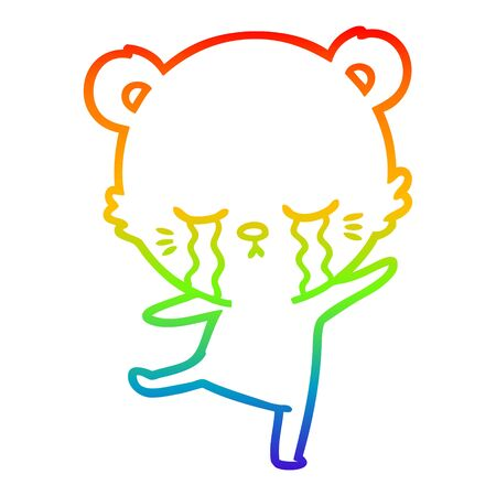 rainbow gradient line drawing of a crying cartoon bear balancing Ilustrace