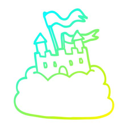 cold gradient line drawing of a cartoon castle on cloud