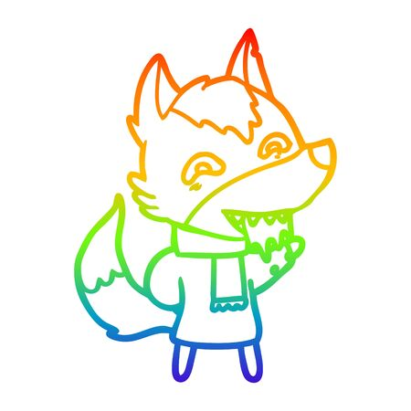 rainbow gradient line drawing of a cartoon hungry wolf in winter clothes