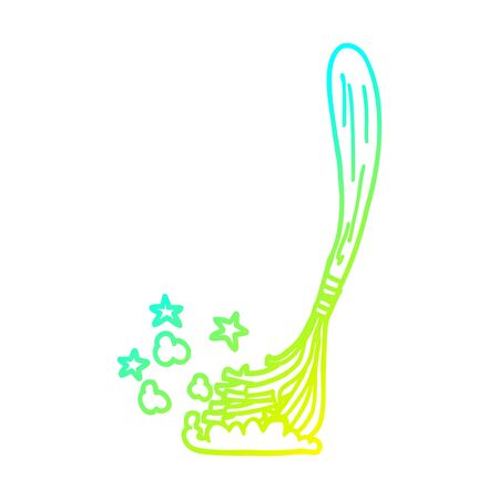 cold gradient line drawing of a cartoon magic broom