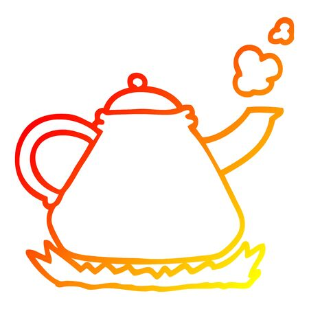 warm gradient line drawing of a cartoon kettle on stove  イラスト・ベクター素材