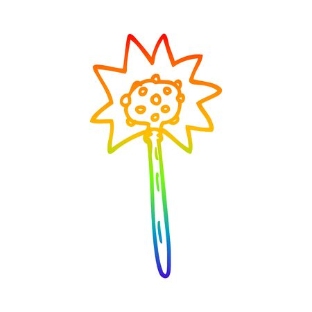 rainbow gradient line drawing of a cartoon mallet Illustration