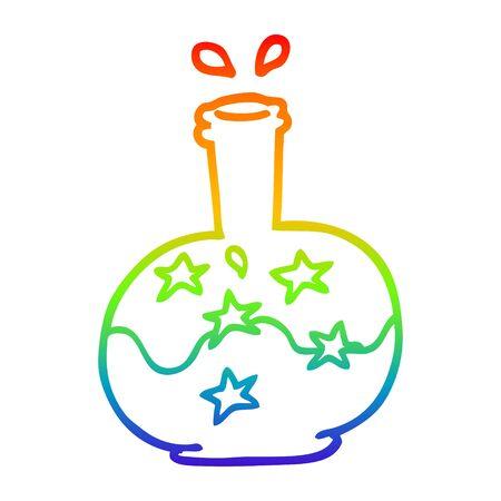 rainbow gradient line drawing of a cartoon magic potion Stock Illustratie