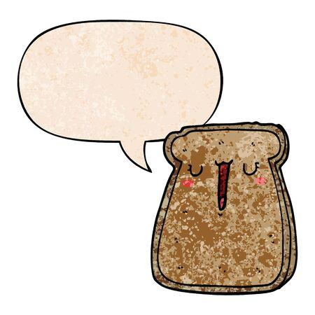 cartoon toast with speech bubble in retro texture style Standard-Bild - 129320295