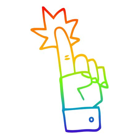 rainbow gradient line drawing of a cartoon pointing hand Stok Fotoğraf - 129320308