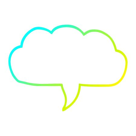 cold gradient line drawing of a cartoon cloud speech bubble