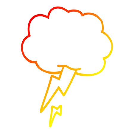 warm gradient line drawing of a cartoon thunder and lightening