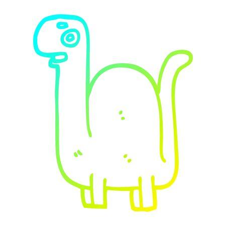 cold gradient line drawing of a cartoon prehistoric dinosaur
