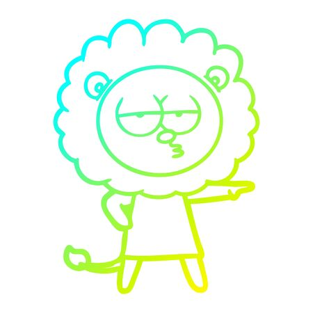 cold gradient line drawing of a cartoon bored lion Ilustrace