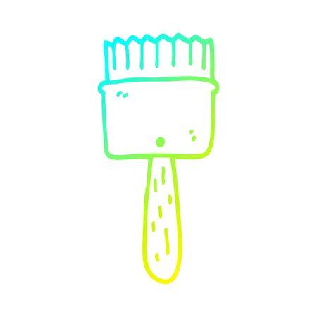 Kalte Farbverlaufslinienzeichnung eines Cartoon-Pinsels