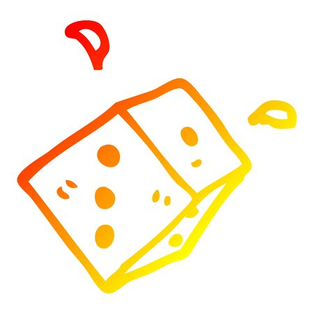 warm gradient line drawing of a cartoon rolling dice Çizim