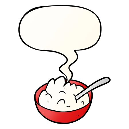 cartoon bowl of porridge with speech bubble in smooth gradient style