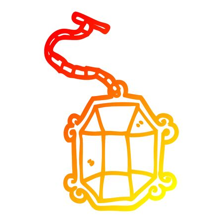 warm gradient line drawing of a cartoon ruby pendant  イラスト・ベクター素材