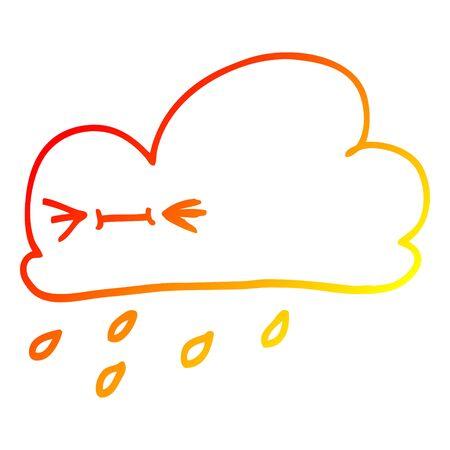 warm gradient line drawing of a cartoon happy grey cloud Illustration