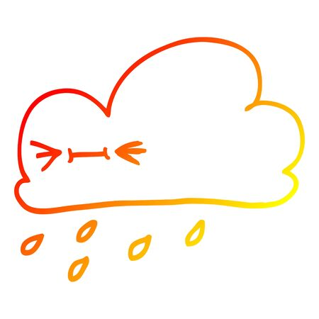 warm gradient line drawing of a cartoon happy grey cloud  イラスト・ベクター素材