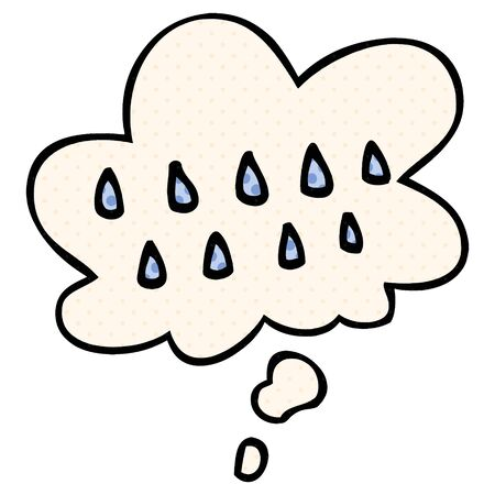cartoon rain with thought bubble in comic book style