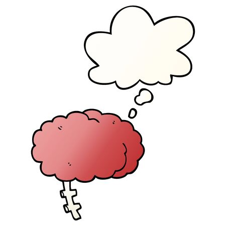 cartoon brain with thought bubble in smooth gradient style