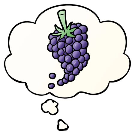 cartoon grapes with thought bubble in smooth gradient style Illustration