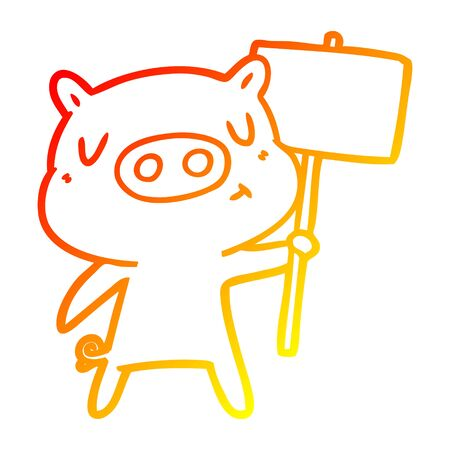 warm gradient line drawing of a cartoon content pig signpost;sign Banque d'images - 129320277
