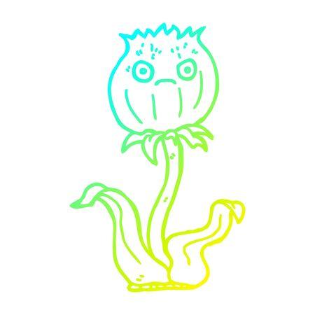 cold gradient line drawing of a cartoon thistle 일러스트