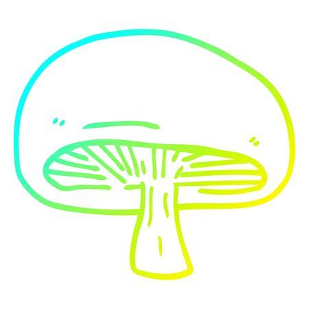 cold gradient line drawing of a cartoon mushroom Illustration