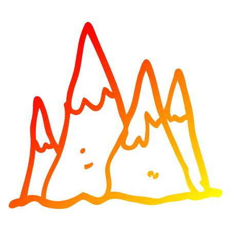 warm gradient line drawing of a cartoon tall mountains Çizim